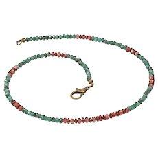 Fashion green emerald choker - Thin green two color choker necklace - Hematite raw emerald choker - Tiny ruby 4mm heishi beads necklace