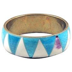 Blue and white Two-color bangle bracelet - Solid brass bracelet - Boho style bracelet women