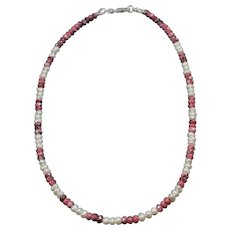Real pearl and rhodonite stone necklace - Natural stone small seed beads choker - Thin stone necklace for men or women