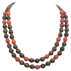 Brown Diffuser Beads Necklace - Lava Ladies Necklace - Necklace Goddess - Dainty Necklace of Two Strands Stones
