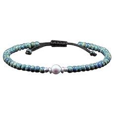 Teal adjustable bracelet - Blue seed beads bracelet - Miyuki beaded bracelet