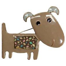Enamel brooch brown metal dog - Brooche jumper