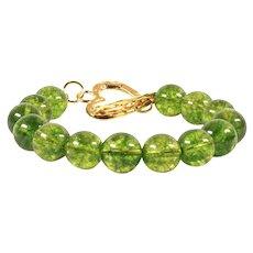 Green Stone Bracelet Toggle Clasp - Light Green Tinted Quartz Beads for Women