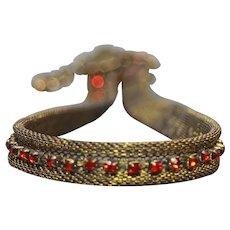 Red Crystal Metal Mesh Choker - Bronze Collar for Women - Rock Style Choker