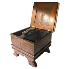 Antique Maine Hotel Ornate Foot Stool with Hinged Top & Storage (originally a shoe-shine box) ~Falmouth, Maine~