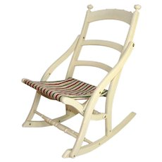 Rustic Mid-Century Repainted Folding Rocking Chair with Cloth Seat in Very Good Structural Condition ~ Fast Free Shipping