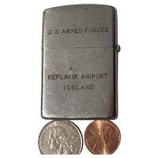 Vintage Metal Lighter, U.S. Armed Forces, Keflavik Airport, Iceland