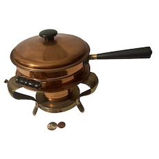 Vintage Metal Copper and Brass Chaffing Dish, Smaller Size