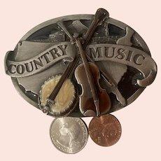 Vintage 1984 Metal Belt Buckle, Pewter, County Music,