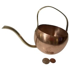 Vintage Metal Copper and Brass Watering Can, Plants, Water Can
