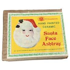 Vintage Santa Claus Face Ashtray Pin Dish Wall Hanging Christmas