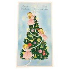 Glitter Angels and Tree Vintage Christmas & New Year Greetings Card - Unused