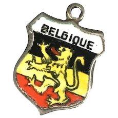 Vintage 800 Silver Enamel Belgique Belgium Travel Souvenir Charm