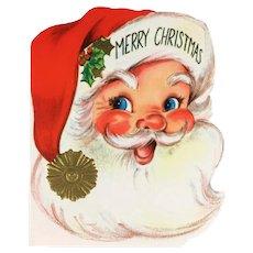 Vintage Mid Century 50s Full Santa Face Merry Christmas Greeting Card