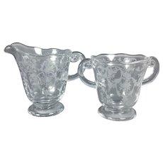 Fostoria Navarre #2440 Crystal Etched Creamer and Sugar Bowl Set