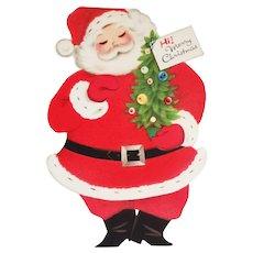 Two-Sided Standing Flocked Santa Merry Christmas Card - Vintage Norcross Unused