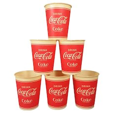 Six 1940-60s Vintage Coca Cola 9 Ounce Waxed Paper Dixie Cups