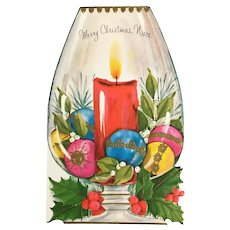 Unused Niece Vintage Gibson Christmas Card with Colorful Ornaments in Stemmed Candle Holder