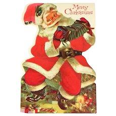 Norcross Unused 2-Sided Flocked Die Cut Christmas Card - Santa Playing Concertina