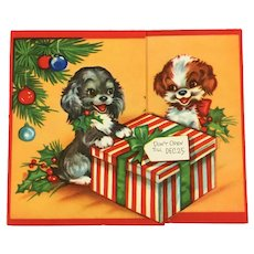 Unused Mid-Century Puppy Dogs and Christmas Ornaments Die Cut Greeting Card