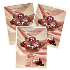 3 Unused Glossy Hallmark Thank You Cards with Shiny Blush Pink Ornaments