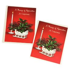 2 Unused Norcross Christmas Holly Sleigh Centerpiece Thank You Cards with Envelopes