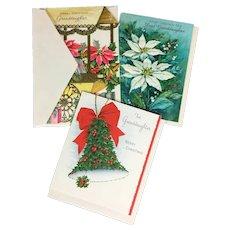3 Unused Christmas Cards for Granddaughter - Gibson Hallmark Norcross