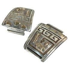 Vintage Ervin Hoskie Navajo Sterling Silver 14k Gold Watch Tips