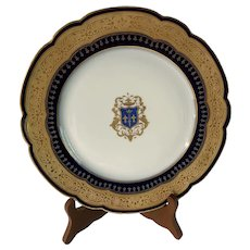 JOAN OF ARC Coat of Arms! Antique Ashe Herbiniere Siroteau Tours Limoges Plate