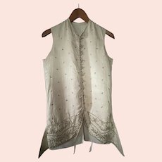 Antique c1750 French Men's w Embroidered Silk Front Waistcoat