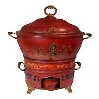 Antique French Tole Painted Chafing Dish Food Warmer Tureen c1820