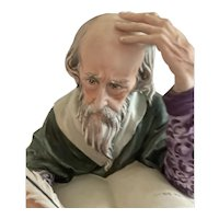 """Capodimonte Italy """"The Scholar"""" Hand Sculpted Hand Painted Porcelain Bust Signed"""