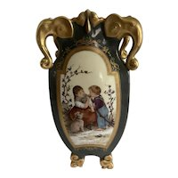Antique French Hand Painted Vase / Urn w Heavy Gold Gild with Elephant Head Handles