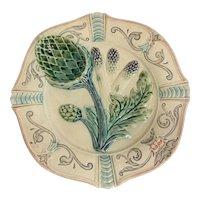 French Majolica Porcelain Asparagus, Artichoke Plate Fives Lille, c1890
