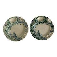 French Majolica Porcelain Asparagus, Artichoke Plate c1890 X 2