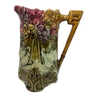 FRIE ONNAING France French Majolica PITCHER #825 Hyacinths & Ferns Art Nouveau Design
