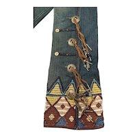 Ralph Lauren Blue Label Aztec Jeans w Beading, Conchos, Leather Fringe, 28