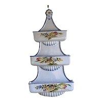 Vintage Porcelain Hand Painted FloraL Triple Wall Pocket Signed #1268