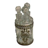 Antique French Crystal Perfume Bottle Trio in Ornate Bronze Filigree Etui c1900