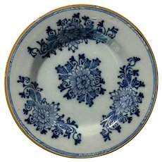 Antique Chinese Flow Blue & White Hand Painted Floral Bowl c1850 Signed