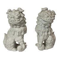 Chinese Blanc de Chine Foo Lion Dog PAIR Male & Female White Porcelain