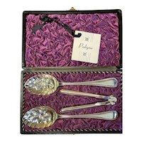 """""""Old English Bead"""" Sterling Repousse Berry Spoon and Nut Cracker Set c1840"""