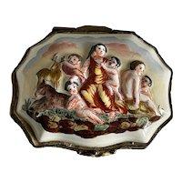 Capodimonte Style German Porcelain Jewelry Cherubs w Stag & Goat Trinket Box