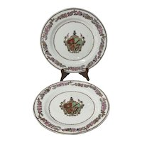 19th c Chinese Export Hand Painted Armorial Plates w Floral Border X 2