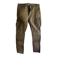 RR Ralph Lauren Women's Genuine Leather Brown Moto Cargo Pants Jeans 28 EUC