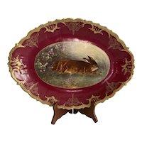Antique Limoges France Hand Painted LDBC Flambeau Rabbit Platter w Heavy Gold 1890