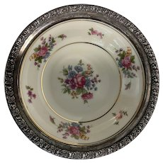 Bavarian Porcelain Queens Rose 159 Bowl w Wallace Sterling Rim 301