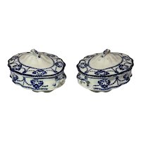 """Newport Pottery Co """"Cambridge""""Porcelain Blue and White Covered Oval Dishes c1920"""