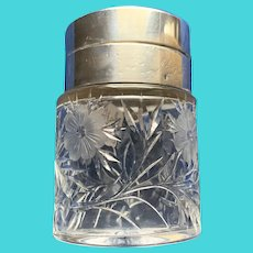 Victorian Cut Glass Jar with Hinged Sterling Lid & Glass Stopper
