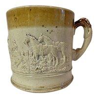 English Staffordshire Tankard Ale Mug Hunt Scene w Dogs Horses c1850